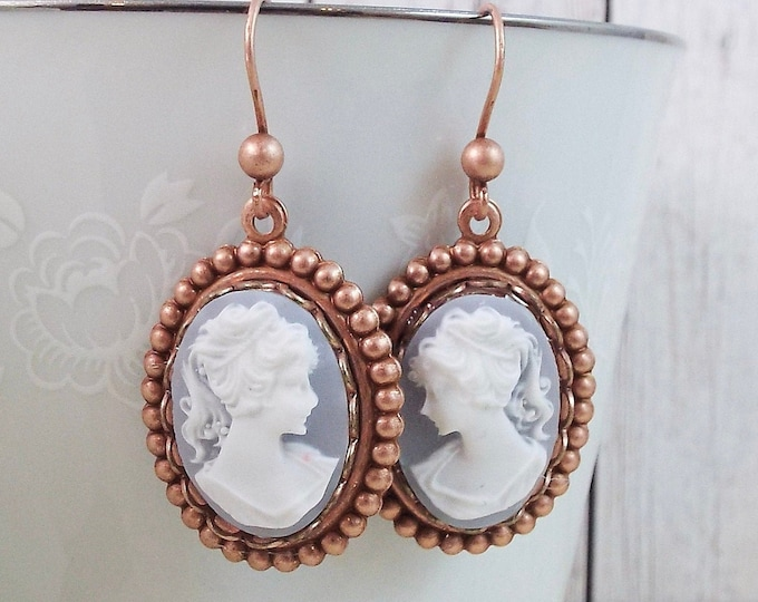 Rose Gold Blue Grecian Cameo Earrings