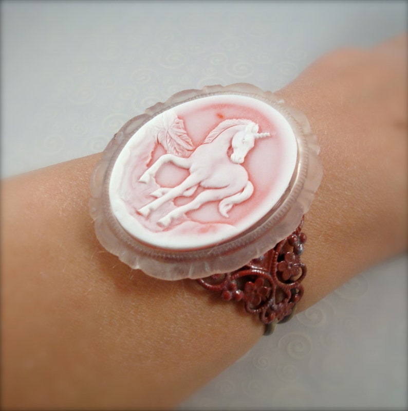 Red Fairytale Unicorn Cuff Bracelet Victorian Fantasy