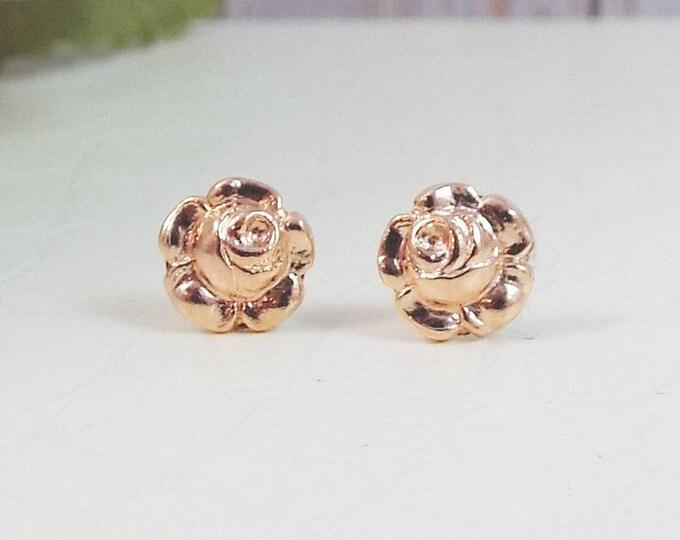 Rose Gold Rosebud Flower Floral Stud Post Earrings