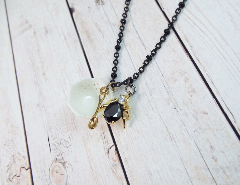 Modern Gothic Goth by SPDJewelry Nursery Rhymes Crystal Spider Necklace Little Miss Muffet Black Charm Necklace