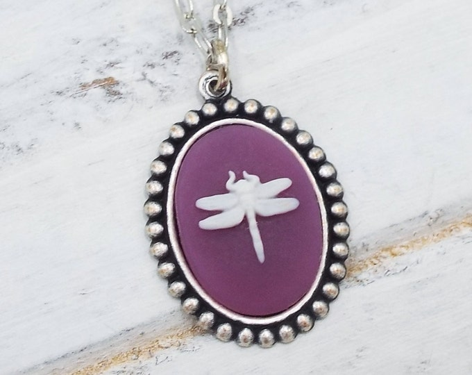 Dragonfly Purple White Cameo Silver Necklace Pendant