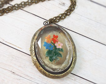 Bronze Flower Bouquet Reverse Painted Glass Brass Ox Photo Locket Large Pendant Necklace