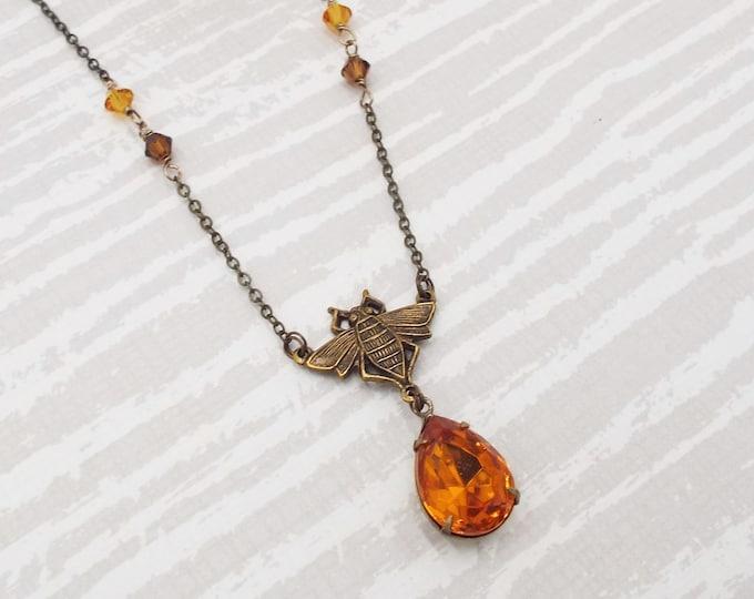 Dark Honey Bee Dangle Glass Crystal Necklace