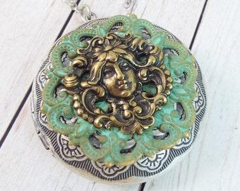 Art Nouveau Locket Large Round Brass Picture Pendant Layering Necklace Vintage Patina Filigree - Forest Spirit, Skogsrå - SPDJewelry