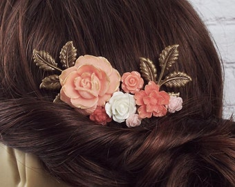 Gold Coral Rose Peony Flower Comb - Peach Floral Rose Spray Bridal Comb, Modern Vintage Hair Accessory - Gift for Mom Wife Bridesmaids