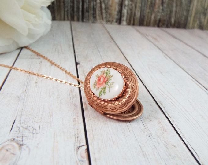 Rose Gold Porcelain Pink Rose Flower Locket Pendant