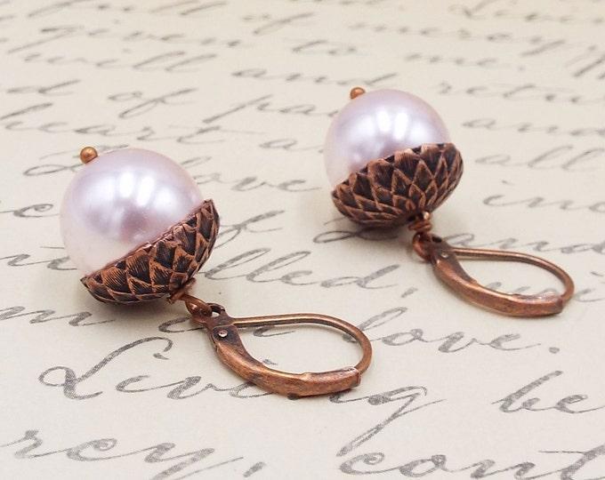 Blush Pale Pink Antique Copper Pearl Acorn Earrings