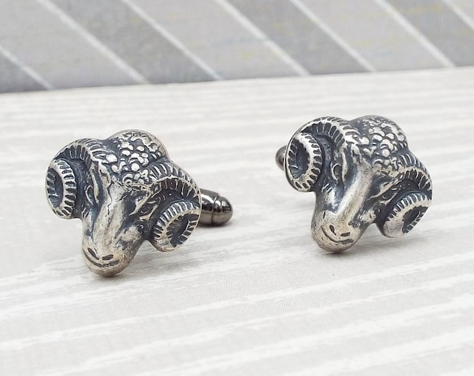Silver Ram Goat Rustic Farm, Gothic Cuff Links Cufflinks - Samhain Wedding, Father of the Bride, Groom - Men's Accessories Fathers Day