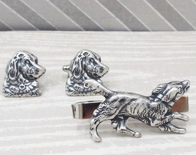 Antique Silver Dog Cufflinks Tie Bar Clip