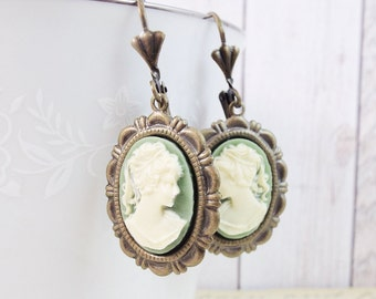 Bronze Sage Green Ivory Grecian Cameo Earrings - Antique Victorian Bride Bridal Wedding Jewelry Gift For Mother Daughter Wife