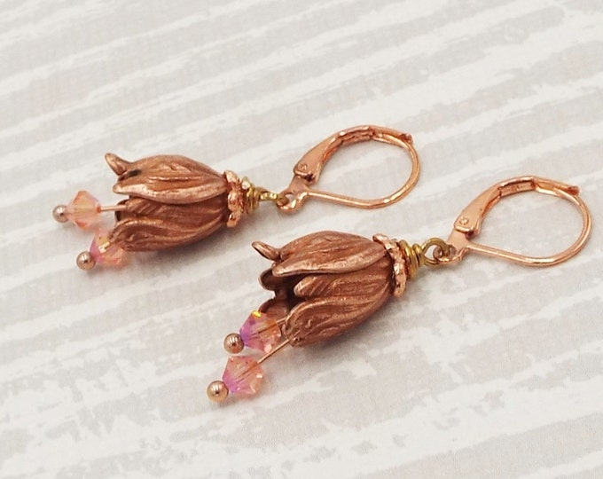 Rustic Rose Gold Orchid Flower Coral Crystal Dangle Earrings