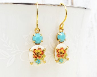 Dainty Vintage Aqua Blue Peach Flower Gold Earrings - Vintage Glass Dangles - Bridal Party Jewelry Gift for Wife Girlfriend Daughter