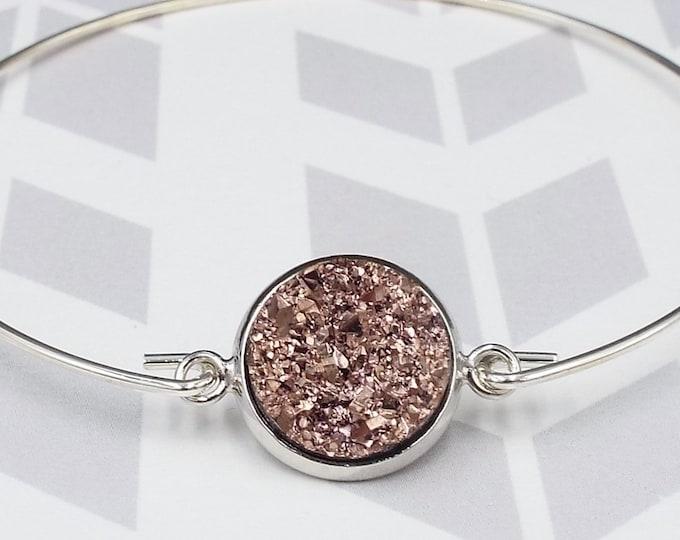 Rose Gold Faux Druzy Silver Bangle Bracelet