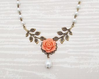 Vintage Coral Rose Flower Floral Leaf Collar Bridal Necklace - Custom Bridal White Pearl Jewelry Gift for Mother Girlfriend Wife Bridesmaids