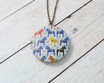 Swedish Dala Horse Pattern Locket Pendant - Nordic Norse Jewelry, Modernism Sweden Art - Split Personality Designs