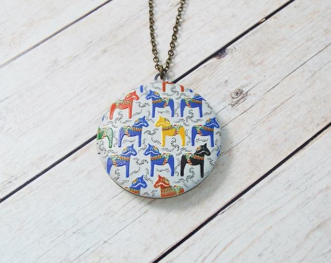 Swedish Dala Horse Pattern Locket Pendant - Nordic Norse Jewelry