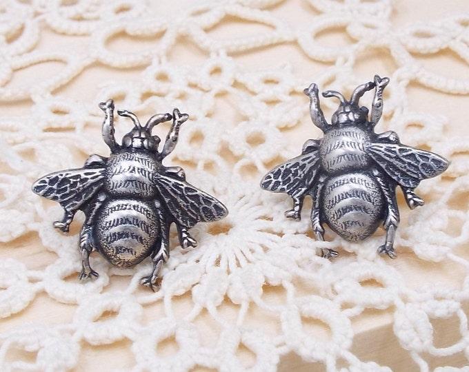 Honey Bee Silver Stud Post Earrings