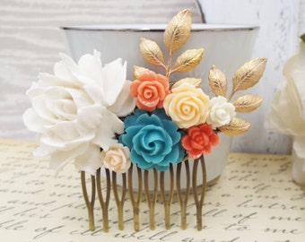 White Coral Aqua Blue Flower Comb - Peach Floral Rose Spray Bridal Comb, Modern Vintage Hair Accessory - Gift for Mom Wife Bridesmaids