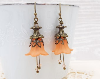 Deep Coral Peach Crystal Tulip Flower Earrings - Gift for Wife Daughter Girlfriend Mom - Lucite Trumpet Floral Jewelry
