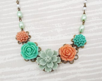 Vintage Mint Coral Teal Rose Flower Floral Collar Bridal Necklace - Custom Bridal Pearl Jewelry Gift for Mother Girlfriend Wife Bridesmaids
