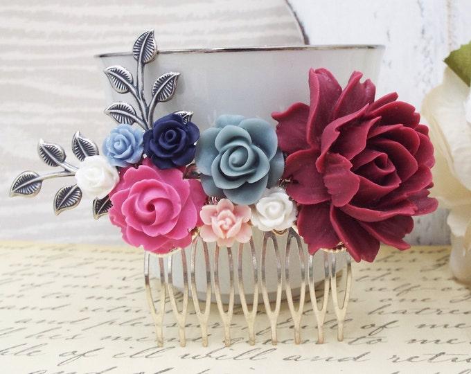 Burgundy, Navy, Pink, Silver Floral Flower Branch Bridal Spray Comb
