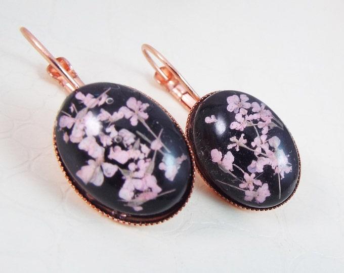 Rose Gold Real Pressed Flower Black Earrings