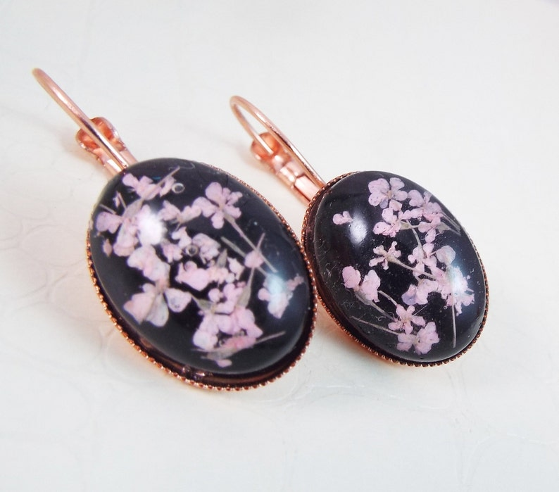 Rose Gold Real Pressed Dried Flower Black Earrings Bridal image 0