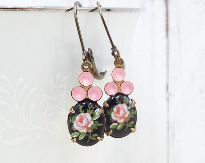 Dainty Vintage Black Blush Pink Rose Glass Earrings