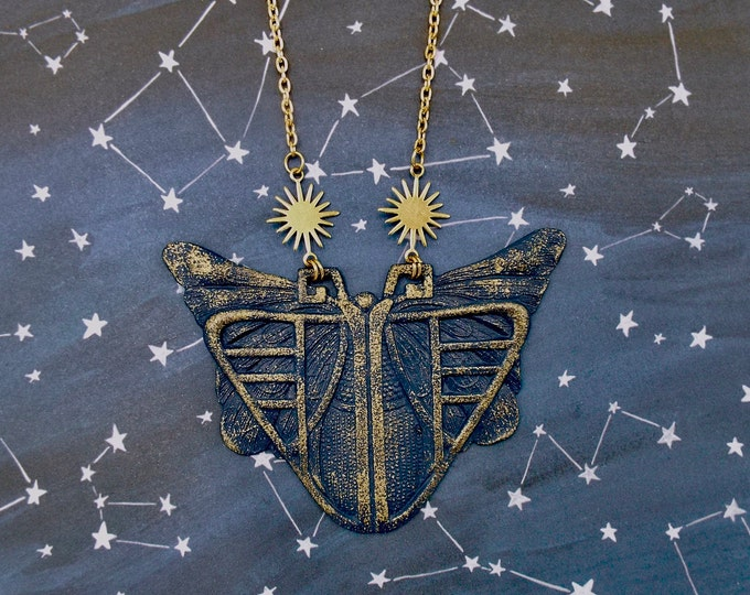 Celestial Art Deco Midnight Moth Starburst Statement Necklace