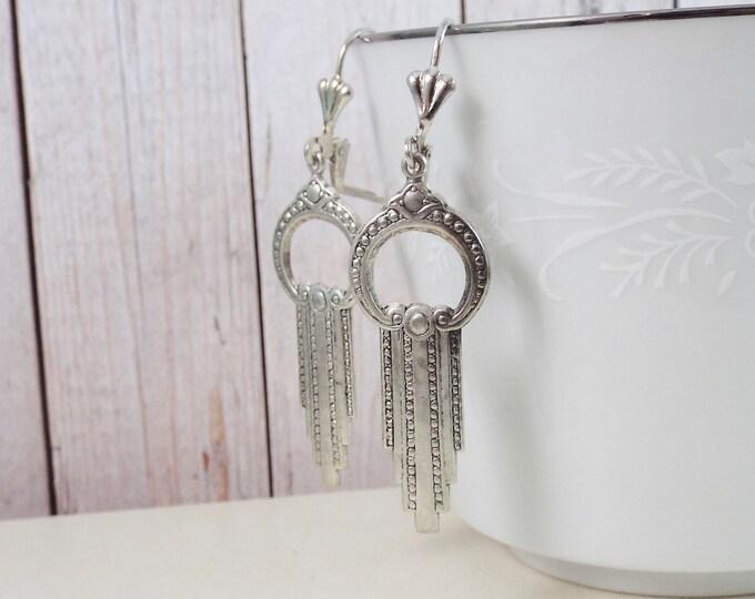 Modern Silver Art Deco Geometric Earrings - Circle Swag Earrings