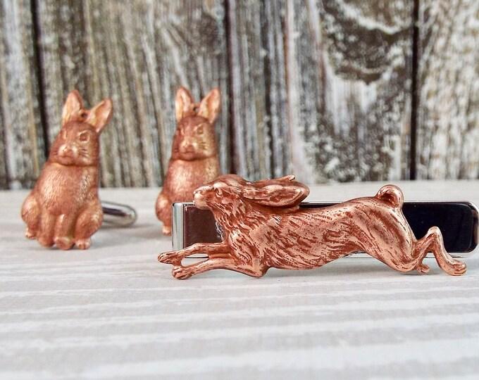 Rustic Rose Gold Silver Rabbit Tie Bar Clip Cuff Links