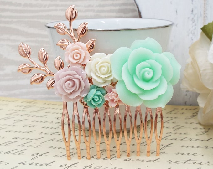 Blush Pink Rose Mint Green Rose Gold Bridal Hair Comb