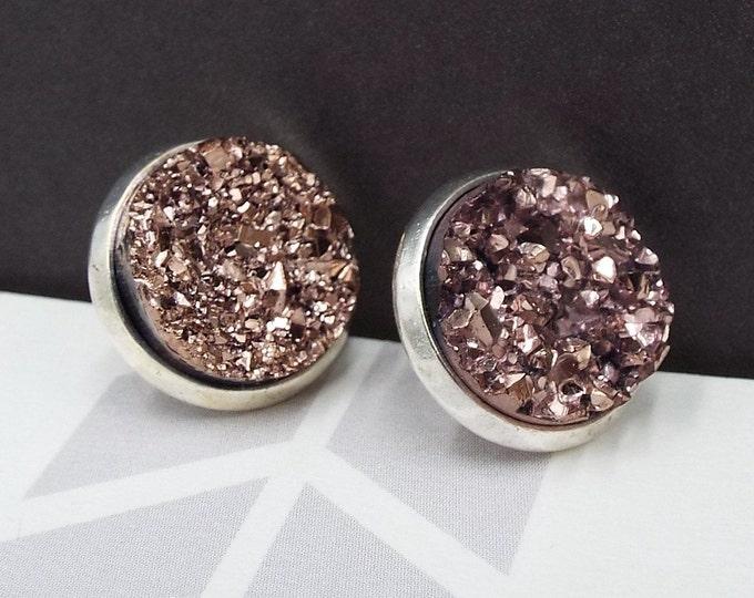 Rose Gold Faux Druzy Black Silver Stud Post Earrings