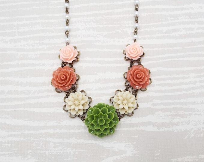 Vintage Olive Rose Blush Flower Collar Necklace