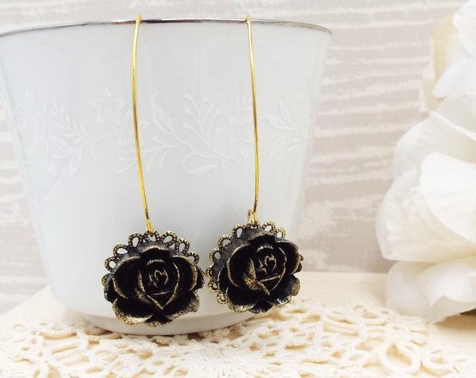 Gilded Black Rose Flower Long Gold Earrings