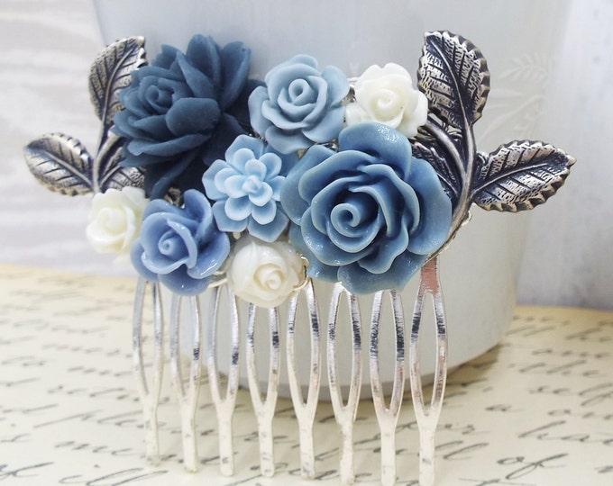 Silver Winter Flower Bridal Comb