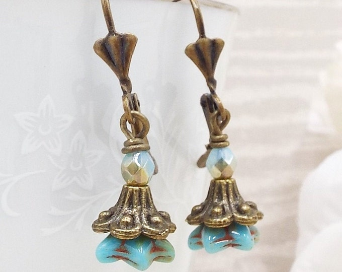 Turquoise Blue Bronze Victorian Flower Dangle Drop Earrings - Bluebells - Wedding Bridesmaids Jewelry Gift for Wife Girlfriend Daughter