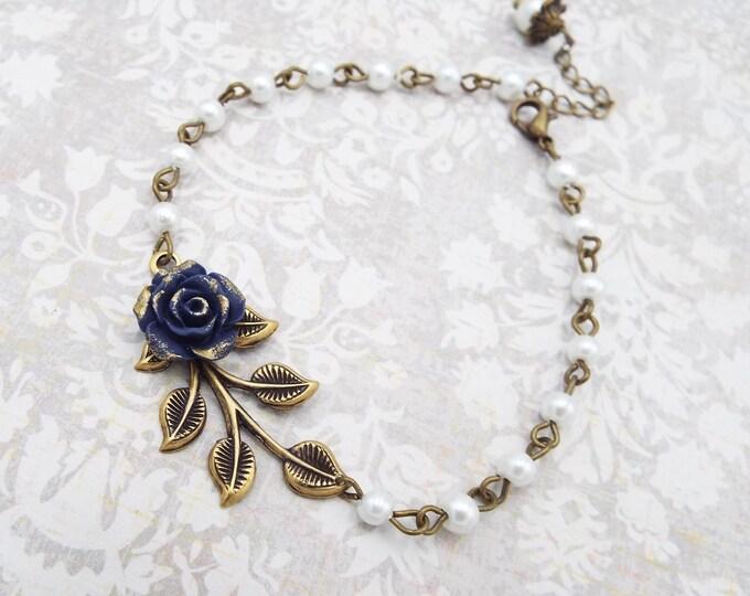 Navy Rose Pearl Branch Leaf Beaded Bracelet