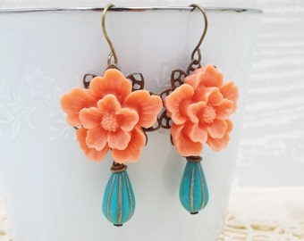 Coral Aqua Blue Turquoise Flower Drop Dangle Earrings - Floral Wedding Jewelry - Gift for Bridesmaids Mother of Bride Wife Girlfriend Mom