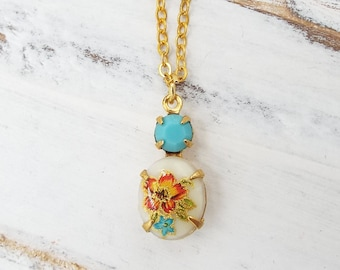 Dainty Vintage Aqua Peach Rose Glass Pendant - Vintage Glass Layering Necklace - Bridal Party Jewelry Gift for Wife Girlfriend Daughter