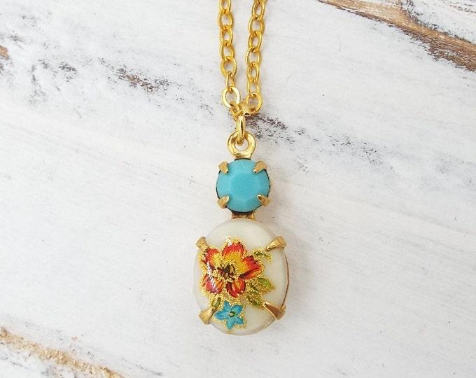 Dainty Vintage Aqua Peach Rose Glass Pendant