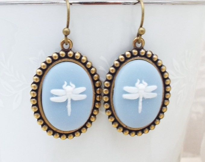 Pastel Blue White Dragonfly Cameo Bronze Earrings