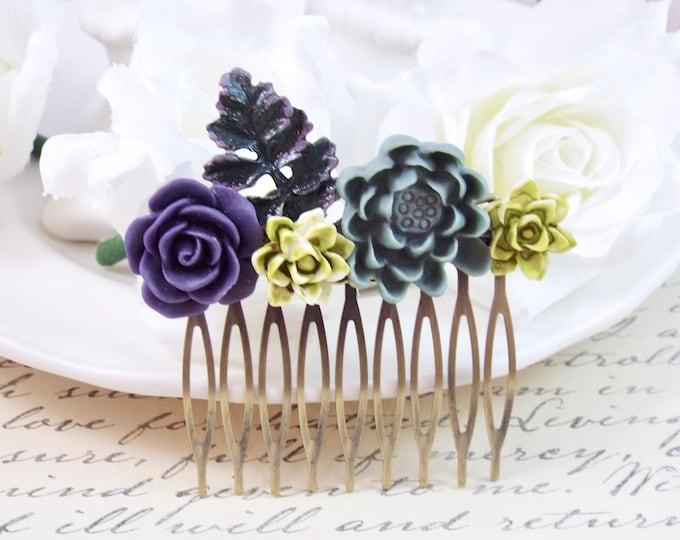 Purple Green Succulent Comb - Gray Hair Accessories - Modern Hair Accessory