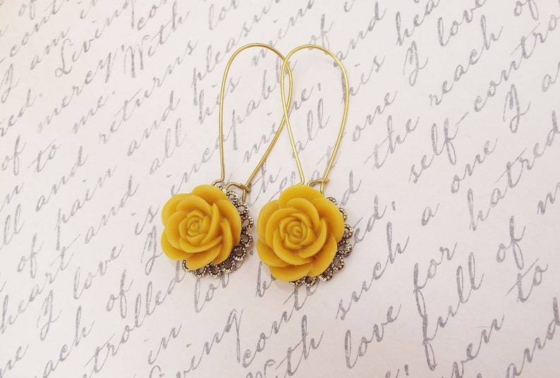 Mustard Rose Flower Long Gold Earrings Autumn Fall Trend Jewelry Victorian Filigree Gift for Mom Daughter Girlfriend Sister Bridesmaids