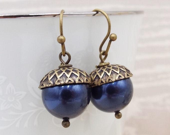 Navy Blue Bronze Pearl Acorn Earrings