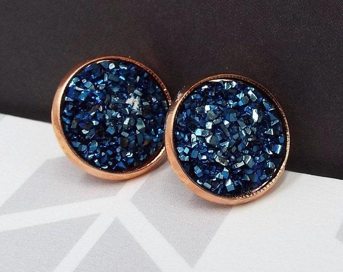 Navy Blue Faux Druzy Rose Gold Stud Post Earrings