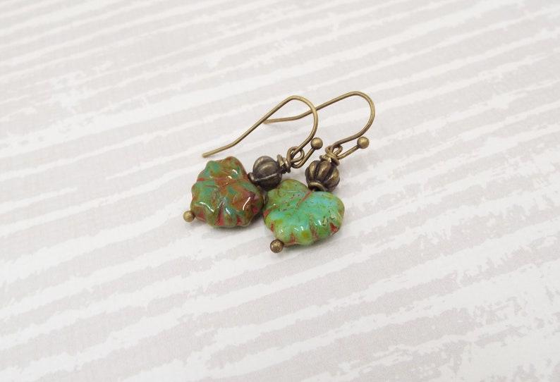 Little Czech Glass Leaf Leaves Earrings  Antique Green image 0