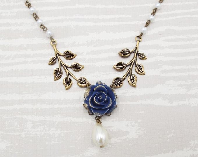 Vintage Navy Rose Flower Floral Leaf Collar Bridal Necklace