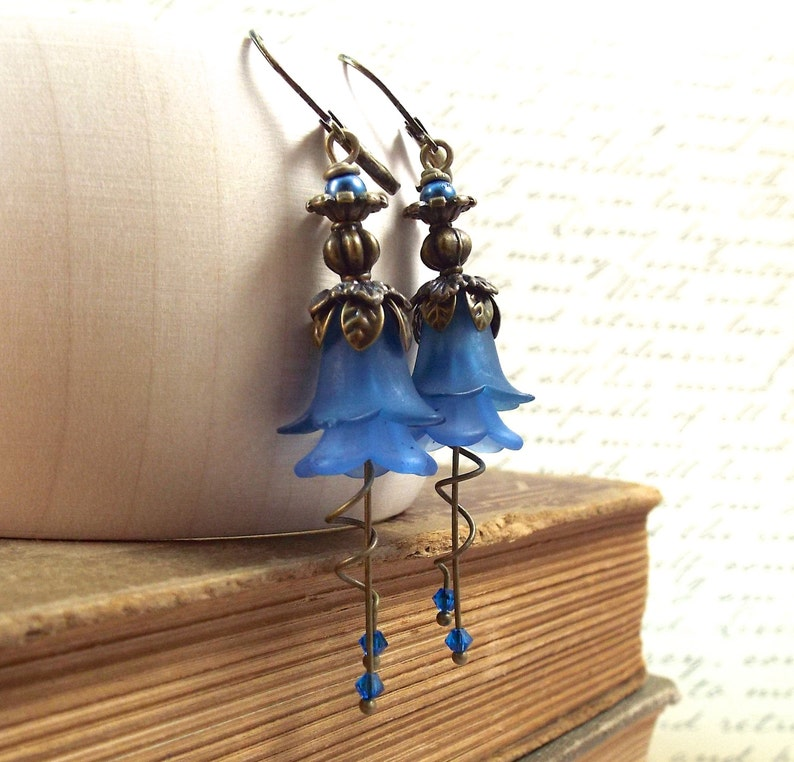 Victorian Floral Jewelry Vintage Wedding Montana Navy Blue Bronze Tulip Flower Earrings Secret Garden
