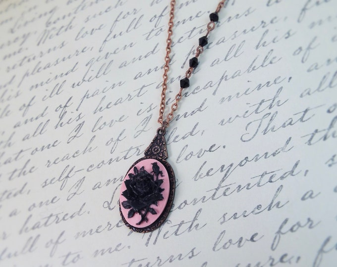 Victorian Blush Pink Black Flower Floral Cameo Antique Copper Necklace - Split Personality Designs
